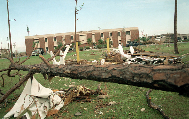 A view of destruction to the Naval Security Group Activity building in the aftermath of Hurricane Andrew