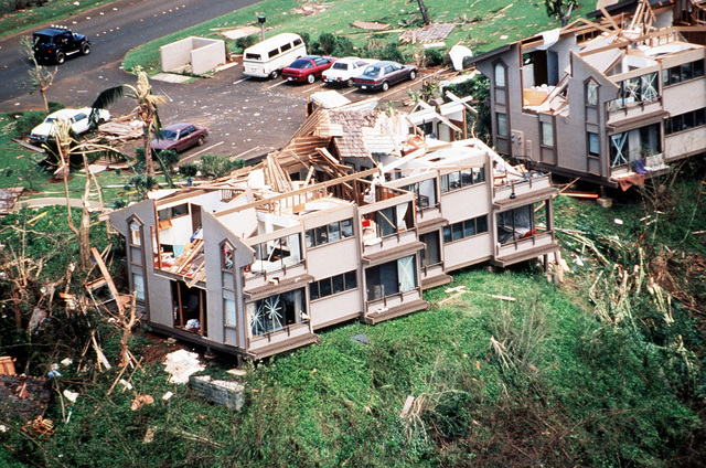 A view of damage to ocean front homes near the Poipu area, Kauai, caused by Hurricane Iniki