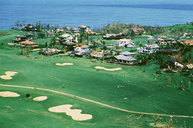 A view of damage to Princeville Resort, Kaui, caused by Hurricane Iniki