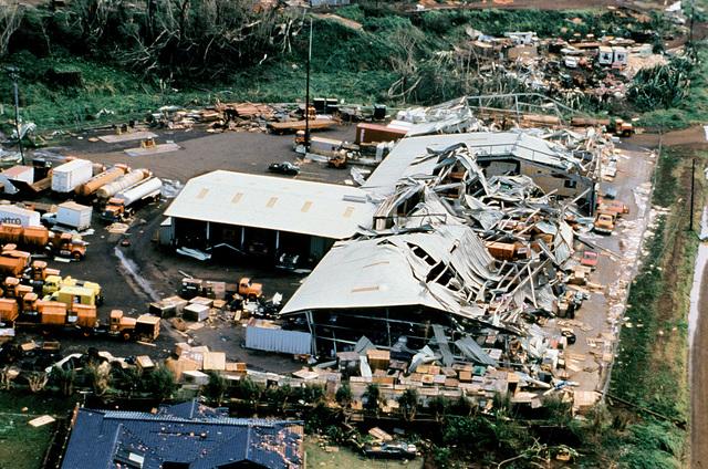 A view of damage to the Kekaha Sugar Company facility, Kauai, caused by Hurricane Iniki
