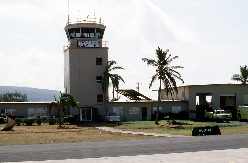 A view of the control tower and operations building at the Pacific Missile Range Facility, Barking Sands, Kauai, shortly after the region was hit by Hurricane Iniki. Damage is not evident in this view