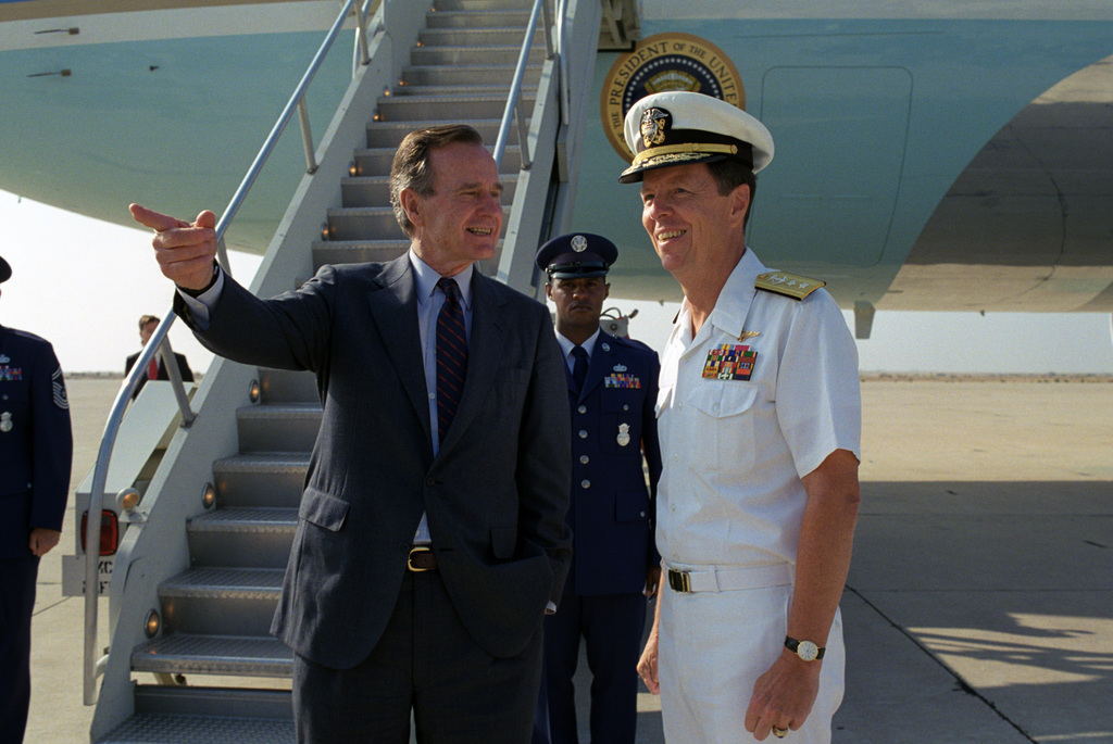 US President George H.W. Bush greeted at NAS Miramar by US Navy (USN) Rear Admiral (RADM) Paul W. Parcells
