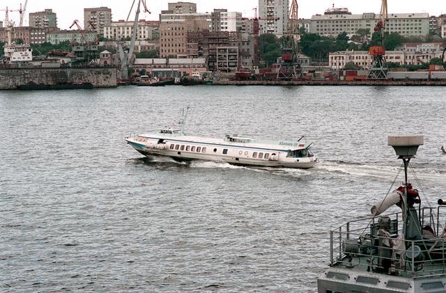 A Russion Meteor class hydrofoil ferry makes its run across Golden Horn Bay