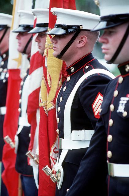 A Marine color guard stands at attention during the deactivation ceremony for Naval station, Subic Bay. Following the ceremony, control of the base will be assumed by the Subic Bay Metropolitan Authority