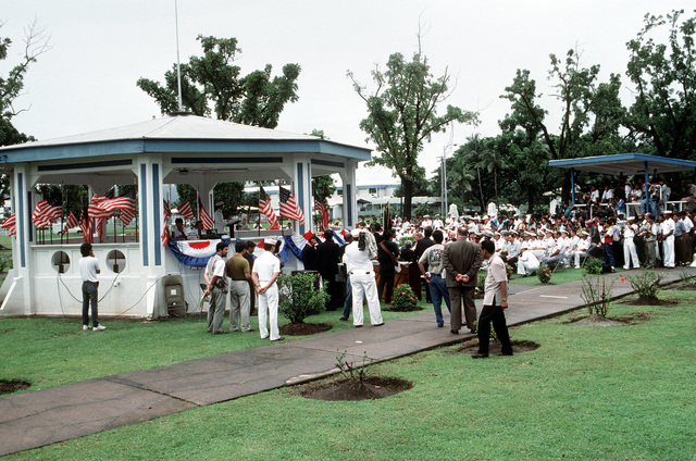 An overall view of the deactivation ceremony for Naval Station, Subic Bay, taking place at Tappan Park. Following the ceremony, the Subic Bay Metropolitan Authority will assume control of the station