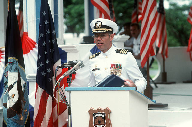 CAPT. David Krieger, commanding officer, Naval Station, Subic Bay, speaks during the station's deactivation ceremony being held at Tappan Park. Following the ceremony, the Subic Bay Metropolitan Authority will assume control of the station