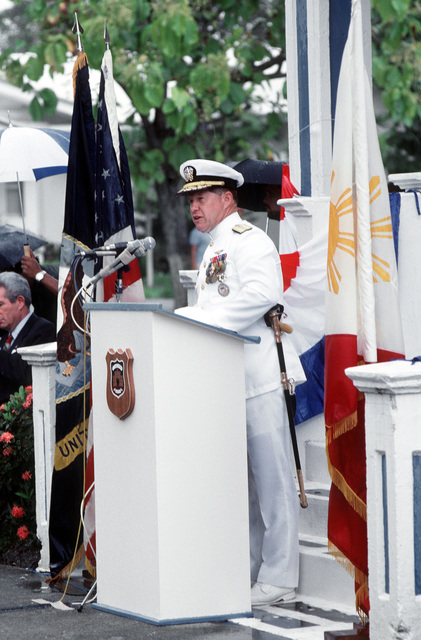 RDML Thomas A. Mercer, commander, U.S. Facility, Subic Bay, and commander, U.S. Naval Forces, Philippines, speaks during the deactivation ceremony for Naval Station, Subic Bay. Following the ceremony, control of the base will be assumed by the Subic Bay Metropolitan Authority