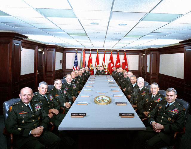 Group photograph of GEN Gordon R. Sullivan (right), Army CHIEF of STAFF and h is staff, including Secretary of the Army Michael P. W. Stone (left). Clockwise from lower left: Secretary Stone, GEN Dennis J. Reimer, Vice CHIEF of STAFF, GEN Edwin H. Burba, Jr., Commander, Commander, Forces Command, GEN George A. Joulwan, Commander in CHIEF, U.S. Southern Command, GEN Jimmy D. Ross, Commander, Army Material Command, GEN David M. Maddox, Commander, U.S. Army, Europe, LGEN Howard D. Graves, Commander, Military Academy, West Point, LGEN Donald M. Lionetti, Commander, Army Space and Strategic Defense Command, MGEN Charles F. Scanlon, Commander Army Intelligence and Security Command, MGEN Samuel...