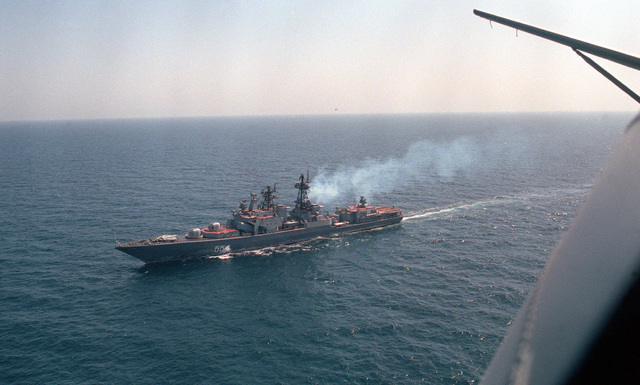 A port bow view of the Russian guided missile destroyer Admiral Vinogradov (BPE-554) as seen from an SH-3 Sea King helicopter. The vessel is part of a multinational naval force participating in exercises in the region