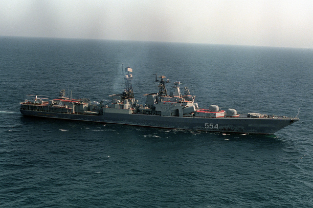 A starboard beam view of the Russian guided missile destroyer ADMIRAL VINOGRADOV (BPK-554) underway with a multinational naval force taking part in exercises in the region
