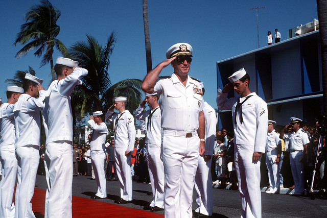 ADM Robert J. Kelly, commander-in-chief, U. S. Pacific Fleet, arrives for the deactivation ceremony of Naval Station, Subic Bay. Control of both Subic Bay and Naval Air Station, Cubi Point, is being relinquished to the Philippine government and Subic Bay will be recognized as the Subic Bay Metropolitan Authority Headquarters
