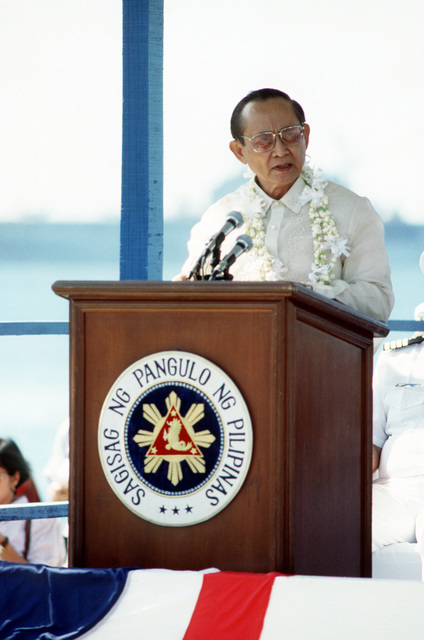 Philippine President Fidel Ramos speaks during the final close-out ceremony at the naval station. Control of the facility is being assumed by the Subic Bay Metropolitan Authority