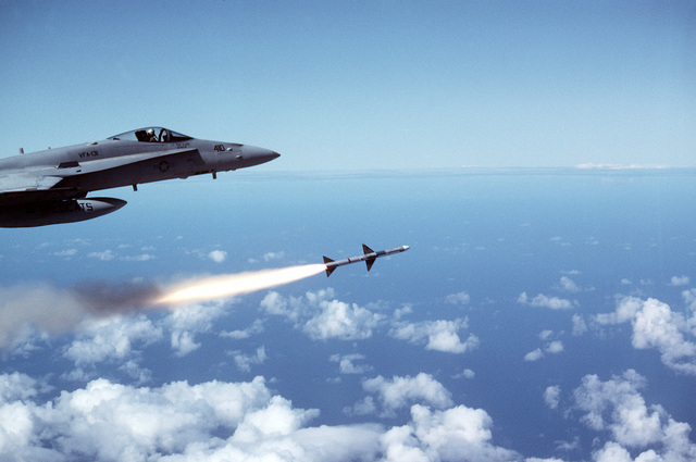 An AIM-7 Sparrow missile is launched from a Strike Fighter Squadron 131 (VFA-131) F/A-18C Hornet aircraft near Naval Station, Roosevelt Roads