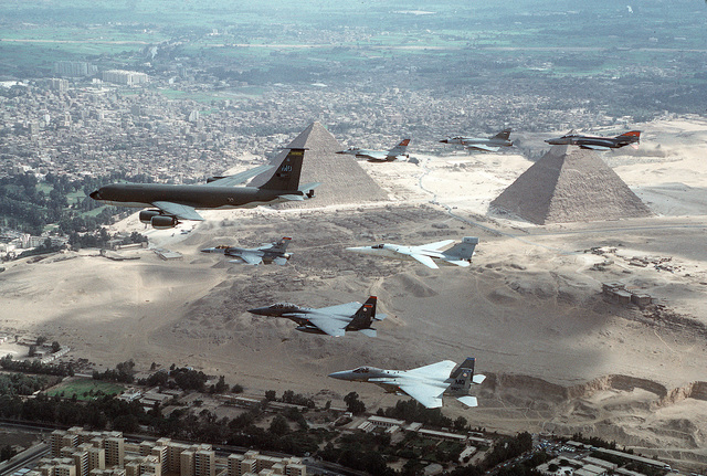 A KC-135R, F-15E's and a F-16 from the 366th Air Wing, Mountain Home AFB, Idaho, fly over the pyramids of Egypt