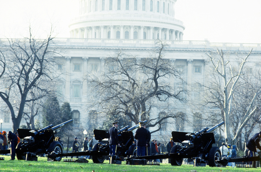 Armed Forces Inaugural Committee behind the scenes. A salute battalion standing by in front of the capitol building during the inauguration