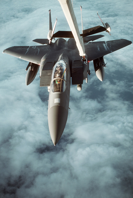 F-15E's from the 22nd Air Wing, Mountain Home AFB, Idaho, refuel off a KC-135 over Egypt