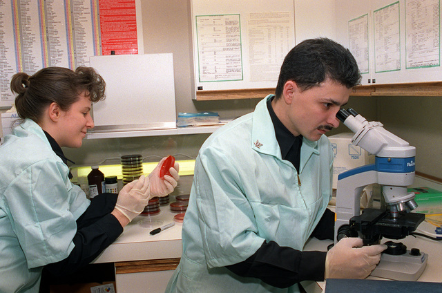 Hospital Corpsman Third Class (HM3) K. Bonitch, left, places a specimen on a plate while Hospital Corpsman First Class (HM1) S. Martinez views a specimen through the microscope at the Branch Medical Clinic, Staten Island
