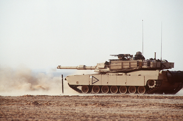 Members of the 24th Infantry Division, Fort Stewart, GA, and the Egyptian Army, conduct a live fire exercise at the Murbarak Range in Egypt using a M1A1 Abrams Main Battle Tank (MBT)