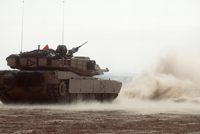 Members of the 24th Infantry Division, Fort Stewart, GA, and the Egyptian Army, conduct a live fire exercise at the Murbarak Range in Egypt using a M1A1 Abrams Main Battle Tank