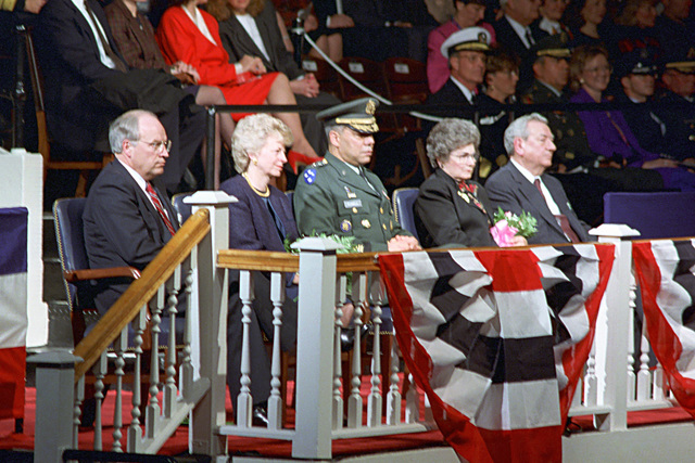 The Honorable (Richard Bruce) Dick Cheney (left), U.S. Secretary of Defense; Mrs. Lynne Cheney (second from left), wife of Secretary Cheney; U.S. Army GEN. Colin Powell (center), Ceremony Host and Chairman of the Joint Chiefs of STAFF; Mrs. Susan Atwood (second from right), wife of Deputy Secretary Atwood; and the Honorable Donald J. Atwood (right), Deputy U.S. Secretary of Defense, are seated on the podium during the combined farewell ceremony for Secretary Cheney and Deputy Secretary Atwood in Ceremonial Hall, Ft. Myer, Va., on Jan. 12, 1993.  OSD Package No. A07D-00088 (DOD PHOTO by Helene C. Stikkel) (Released)