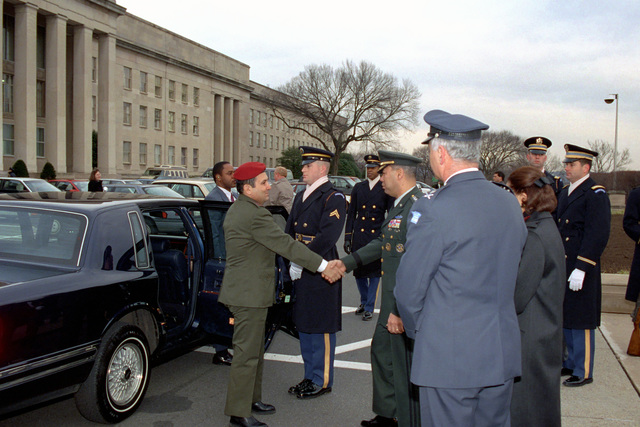 U.S. Army GEN. Colin Powell, Chairman of the Joint Chiefs of STAFF, greets CHIEF of the General STAFF, Israeli Defense Forces, LT. GEN. Ehud Barak, as he arrives at the Pentagon on Jan. 14, 2003, during an Armed Forces Full Honor Arrival Ceremony.  OSD Package No. A07D-00095 (DOD PHOTO by Robert D.Ward) (Released)