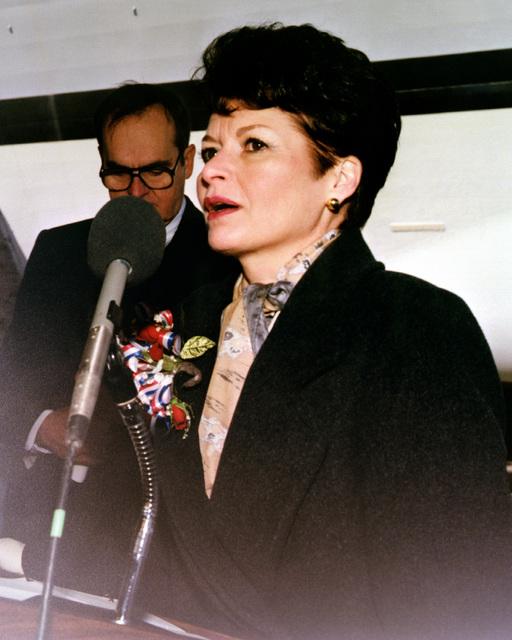 Mrs. John R. Dailey, ship's sponsor, speaks during the christening and launching ceremony of the dock landing ship HARPERS FERRY (LSD-49) at Avondale Shipyards