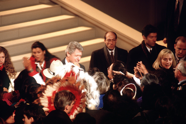 """American Reunion on the Mall. President-elect Clinton meets and greet with his supporters and well wishers, at the """"Ringing of the Bells"""" ceremony"""