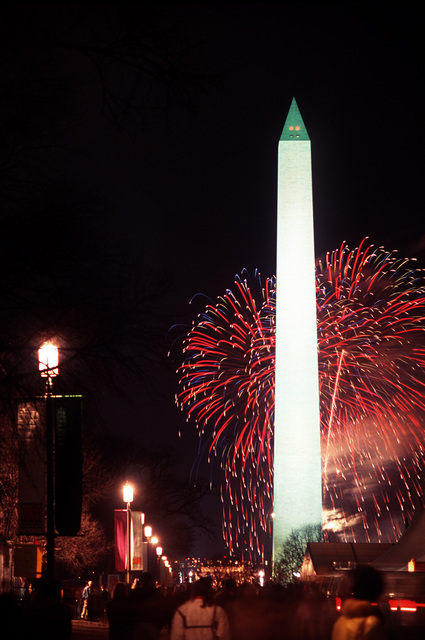 American Reunion on the Mall. Washington monument enhanced by fireworks as part of the festivities for the American Reunion on the Mall