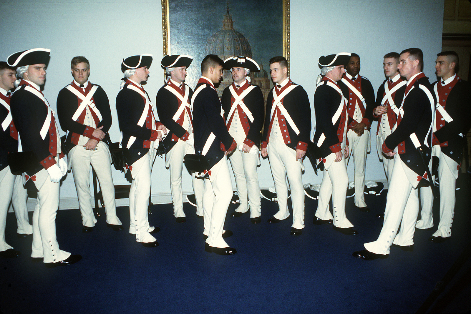 Diplomatic Reception. Various members of the Commander-in-CHIEF's Ceremonial Guard gather in a holding area prior to the Diplomatic Reception hosted by President-elect Clinton at Georgetown University