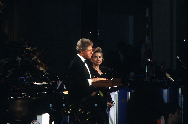 Armed Forces Inaugural Committee behind the scenes. President Clinton and his wife, HIllary speaks at one of the Presidential Balls held the evening of the 20th