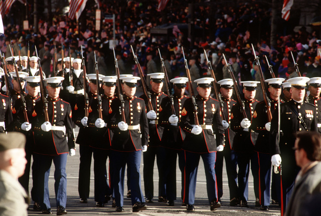 Inaugural parade, the USMC reserves from India Company, 3rd Battalion, 24th Marines, located in Nashville, Tennessee, marched past Freedom Plaza