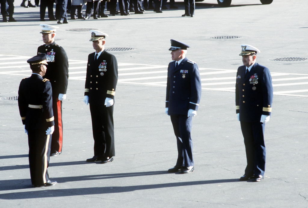 Inaugural Parade.The coordinating Commander form up on the East side of the Capitol prior to the start of the 1993Inaugural Parade.Left to right they are BGEN Robert L. Stephens Jr. USA; BGEN John H. Admire, USMC; RADM Robert C. Jones, USN; COL Steven B. Richards, USAF; RADM John W. Lockwood, USCG