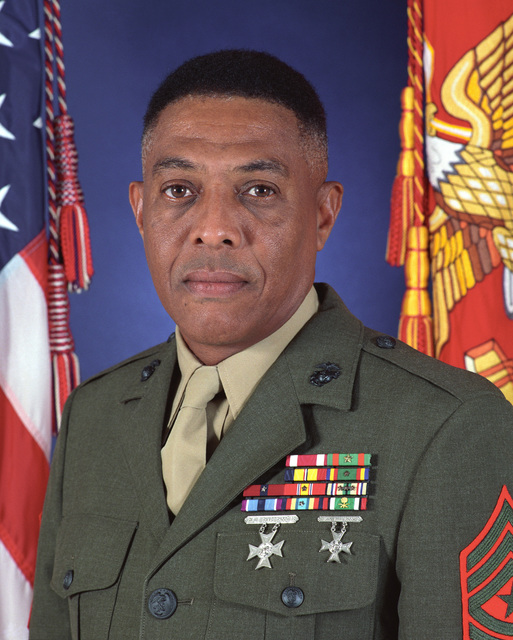 Formal dress portrait of HQSVCBN Sergeant Major Green, USMC (uncovered)