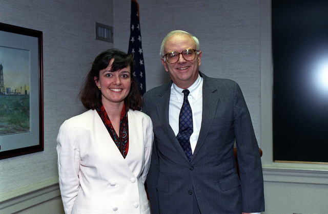 The Honorable Leslie 'Les' Aspin, Jr., (right), U.S. Secretary of Defense, poses for a picture with Ms. Allison Dodd at the Pentagon, Washington, D.C., Feb. 10, 1993.  OSD Package No. A07D-00130 (DOD PHOTO by Helene C. Stikkel) (Released)