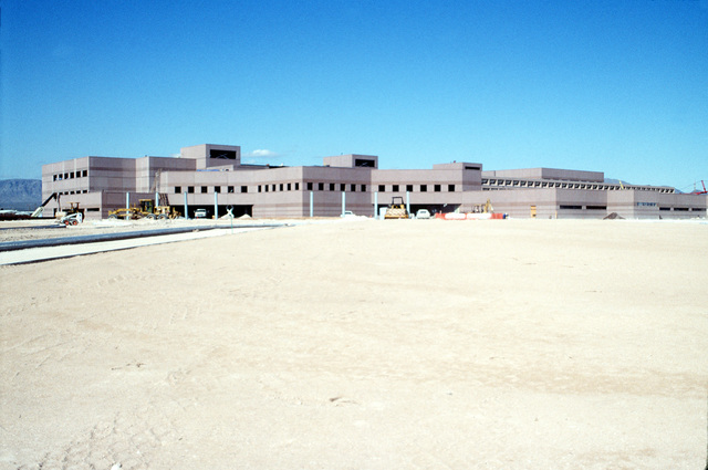 An exterior view of the new hospital under construction. Due to be completed in March of 1994, the hospital will be shared by the Veterans Administration and provide space for 129 beds