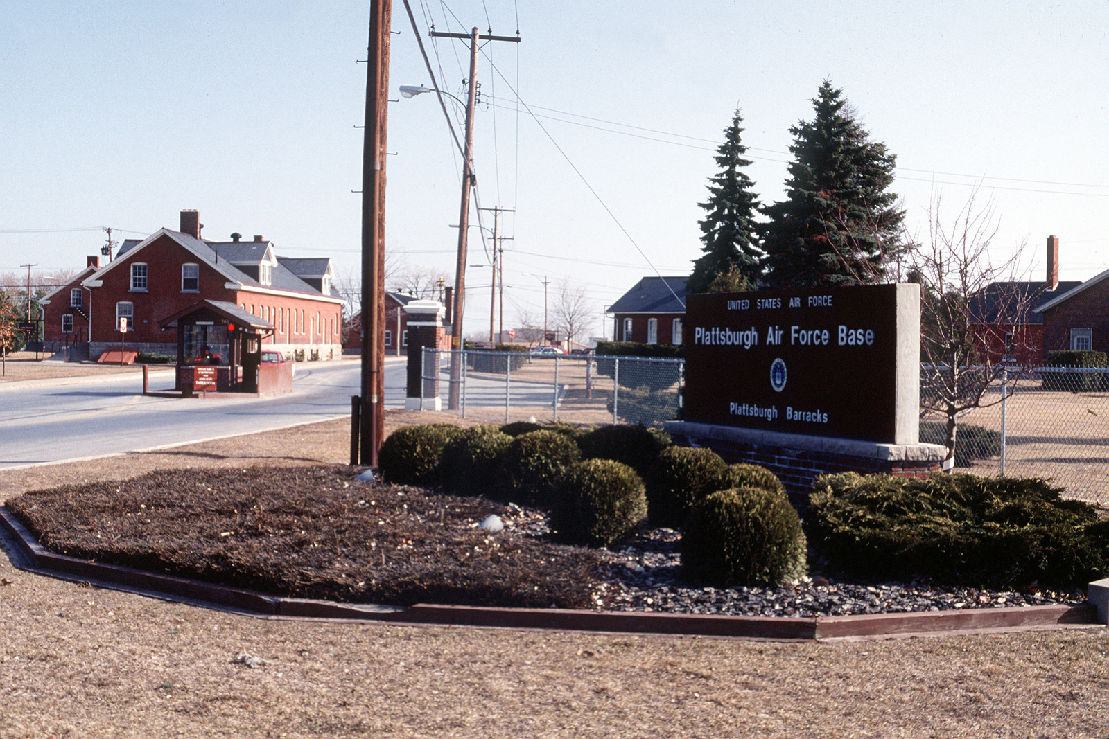 A view of the sign at the Plattsburgh Barracks gate, the entrance to the old side of the base. Plattsburgh is the oldest active military installation in the United States, established in 1814. It has been an Air Force base since 1955