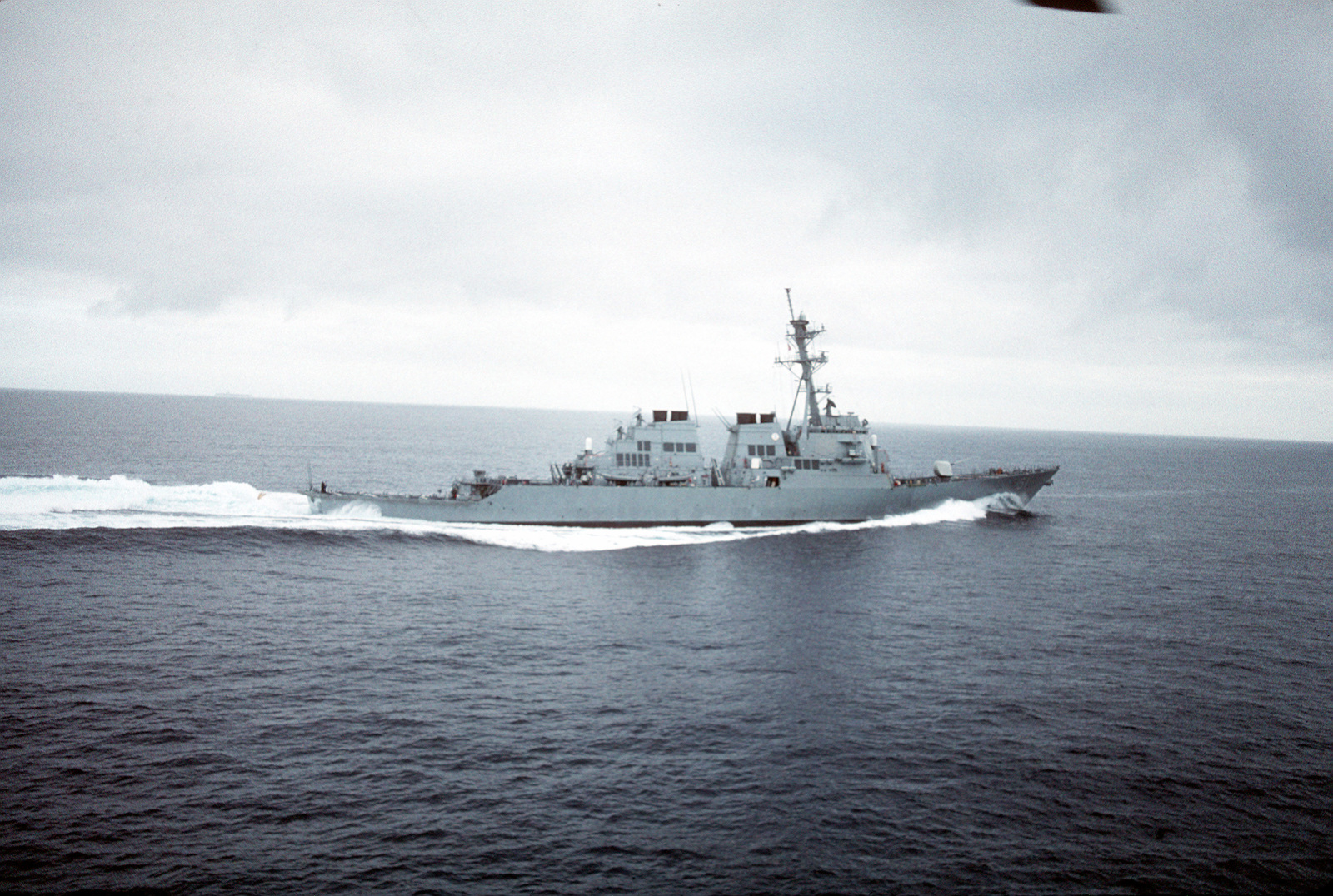 A starboard beam view of the guided missile destroyer USS