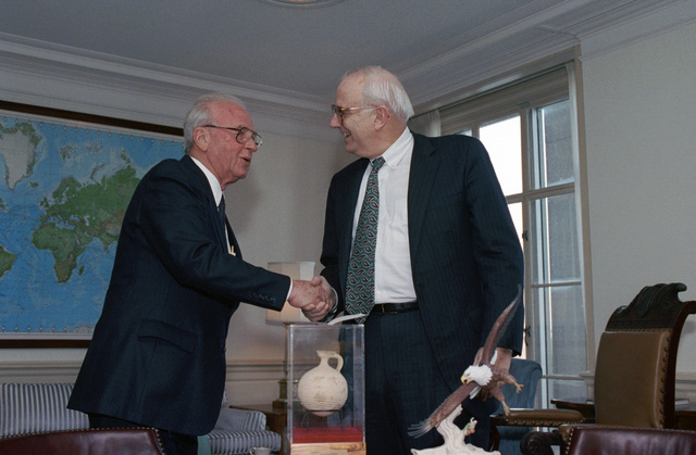 The Honorable Leslie 'Les' Aspin, Jr. (right), U.S. Secretary of Defense, shakes hands with Yitzhak Rabin, Israeli Prime Minister, at the Pentagon, Washington, D.C., March 15, 1993.  OSD Package No. A07D-00149 (DOD PHOTO by Robert D. Ward) (Released)