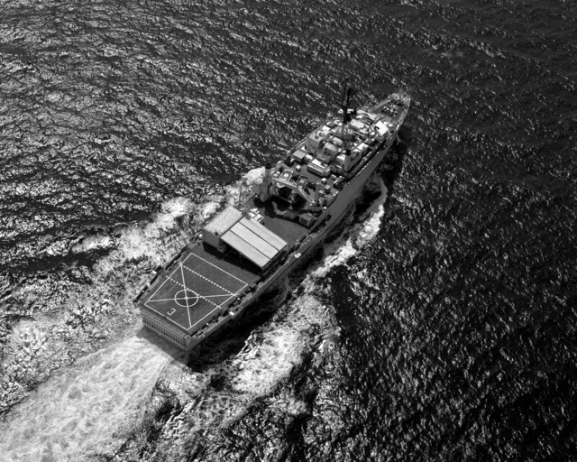 An overhead view of the miscellaneous flagship USS LA SALLE (AGF-3) underway during Operation Southern Watch