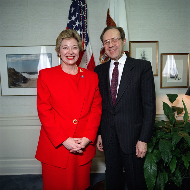 The Honorable William J Perry (right), U.S. Deputy Secretary of Defense and the Honorable Leslie L Byrne, (D-VA), Representative 11th Congressional District, pose for a photograph at the Pentagon, Washington, D.C., March 31, 1993, during the National Women's History Month observance.  OSD Package No. A07D-0167 (DOD PHOTO by Helene C. Stikkel) (Released)