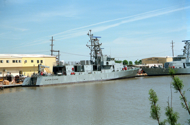 The patrol craft HURRICANE (PC-3) is moored to a pier while undergoing construction at the Bollinger Machine Shop and Shipyards