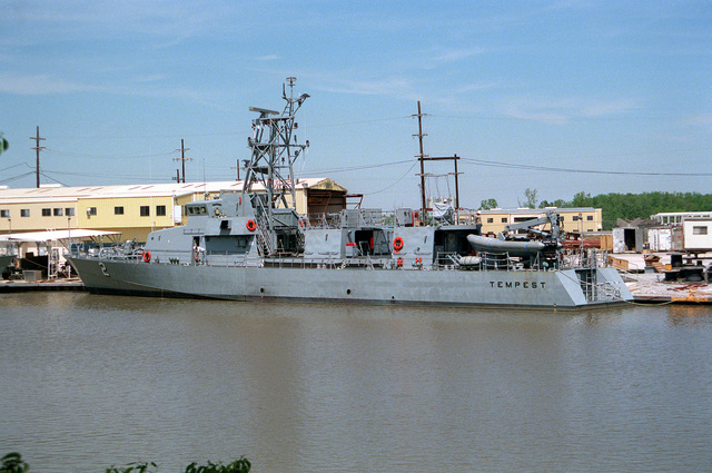 The patrol craft TEMPEST (PC-2) is moored to a pier while undergoing construction at the Bollinger Machine Shop and Shipyards
