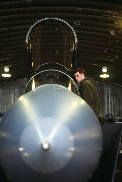 A crew chief helps LT. Shaffer of the 53rd Fighter Squadron into the cockpit of his F-15C Eagle prior to a terrain orientation mission during Operation Deny Flight, the enforcement of the United Nations-sanctioned no-fly zone over Bosnia and Herzegovina