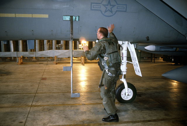 LT. Shaffer of the 53rd Fighter Squadron performs a preflight check of his F-15C Eagle aircraft prior to a terrain orientation flight during Operation Deny Flight, the enforcement of the United Nations-sanctioned no-fly zone over Bosnia and Herzegovina