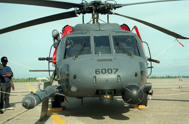 A close-up view of an Air Force MH-60G pave Hawk helicopter on display during air show