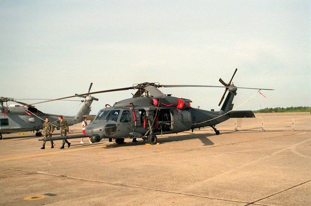 A left side view of an Air Force MH-60G pave Hawk helicopter on display during air show