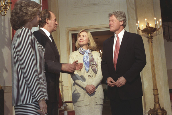 Photograph of President William J. Clinton and First Lady Hillary Rodham Clinton with King Juan Carlos and Queen Sofia of Spain