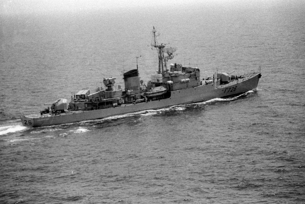 A starboard quarter view of the French frigate COMMANDANT BORY (F-726) underway