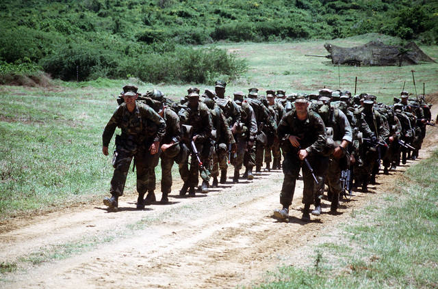 Two columns of Marines march past a camouflaged M-198 155mm howitzer position of Btry. R, 5th Bn., 10th Marine Regt., during the joint service exercise Ocean Venture '93