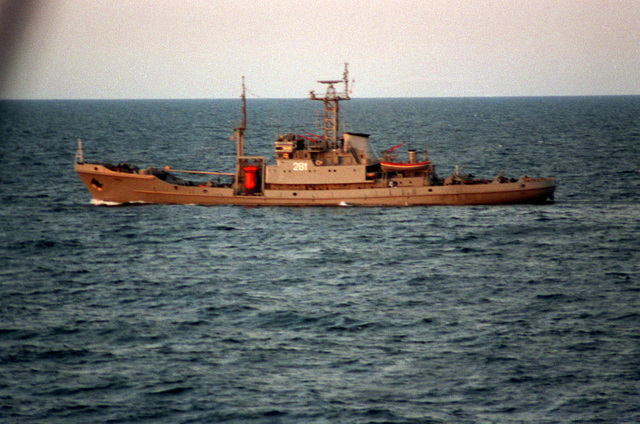 A port beam view of the Polish navy salvage ship PIAST (281) underway during exercise BALTOPS '93. For the first time in the 22-year history of BALTOPS, the Eastern European countries of Estonia, Latvia, Lithuania, Poland and Russia were invited to participate in the non-military phases of the exercise